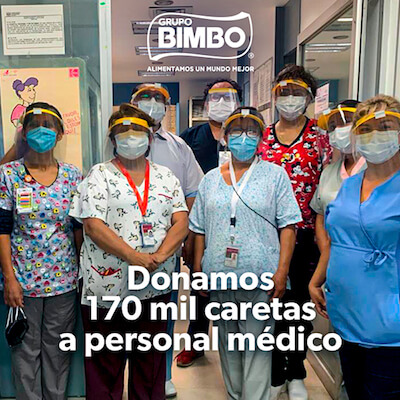 Grupo Bimbo Crea, Elabora y Entrega más de 170 mil caretas por Pandemia